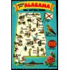 Alabama, AL Map Postcard - The Cotton State $1 Box