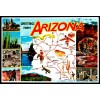 Arizona, Greetings From Map Postcard 1991 $1 Box