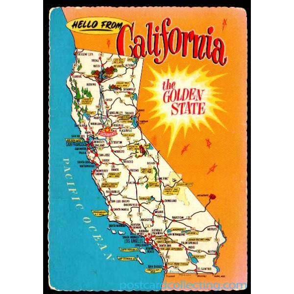 California Map Postcard   Hello From The Golden State $1 Box