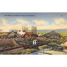 Coal Mining in Anthracite Region - Pennsylvania - Linen Postcard Americas