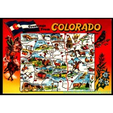 Colorado, CO - Greetings From - Map Postcard $1 Box