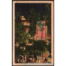Dells Wisconson - Flag Indian Ceremonial - Postcard $1 Box