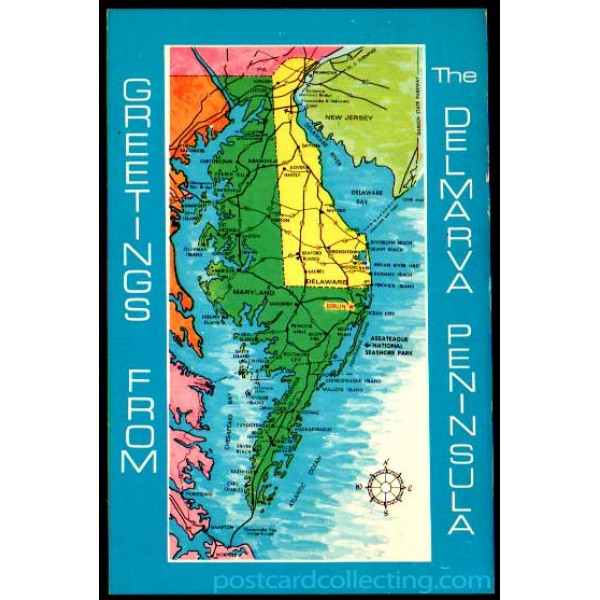 Delmarva Peninsula - Maryland, Delaware, Virginia - Greetings From on virginia peninsula, adirondack high peaks map, dominion power service area map, rehoboth beach, delaware map, california shipwreck map, virginia map, northeast us road map, indian river, dewey beach, bethany beach neighborhood map, cape henlopen, olde england map, west va map, east coast map, long island map, state of deseret, gloucester county va map, sussex county, delaware bay, bethany beach, district of columbia statehood movement, middle peninsula, mexico yucatan peninsula map, georgetown de map, new orleans map, md beaches map, lake county map, dc area and surrounding area map, 51st state, maryland map, state of franklin,