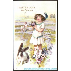 Easter Joys Be Yours - Rabbit Embossed Postcard With Girl Topics