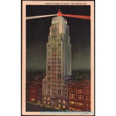 Fort Wayne, Indiana - Lincoln Tower By Night 1951 Postcard $1 Box
