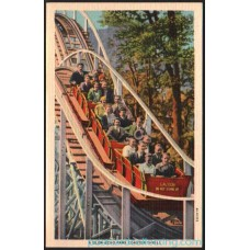 Glen Echo Park, Maryland - Roller Coaster Thrill Linen Postcard Americas