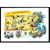 Greetings From Massachusetts Map - Chrome Postcard $1 Box