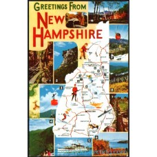 Greetings From New Hampshire Map - Chrome Postcard $1 Box