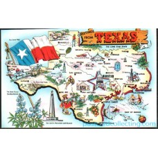 Greetings From Texas, Chrome Map Postcard $1 Box