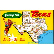 Greetings From Texas, Chrome Map Postcard - Lone Star State $1 Box