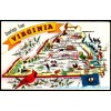 Greetings From Virginia - Map Postcard $1 Box