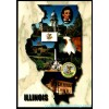 Illinois Map Postcard - Home of Lincoln $1 Box
