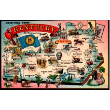 Kentucky, Greeting From Map - Blue Grass State Postcard $1 Box