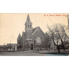 M.E. Church, Sheldon, Iowa  Postcard Iowa
