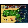 Massachusetts Map - Chrome Postcard - The Bay State $1 Box