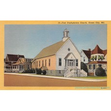 Ocean City, Maryland, MD - First Presbyterian Church - LInen Postcard Maryland