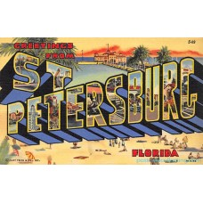St. Petersburg, Florida, FL Greetings From - Large Letter Postcard Americas