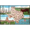 Texas, Map Postcard Longhorn - Linen Postcard 1940 $2 Box