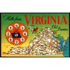 Virginia - Hello From Old Dominion Map Postcard $1 Box