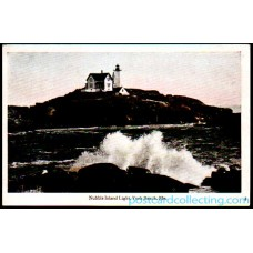 York Beach, Me Nubble Island Light, Maine - 1917 Postcard Americas